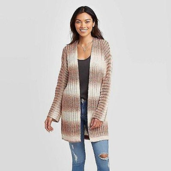 WOMEN'S STRIPED LONG SLEEVE CARDIGAN NATURAL M NWT